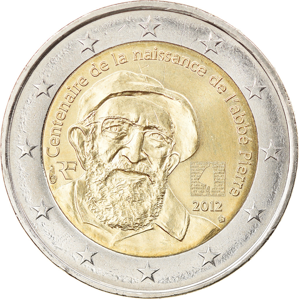 Abbe Pierre 100 uncirculated FRANCE 2 € commemorative euro coin 2012